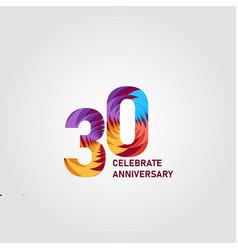 30 year anniversary elegant rainbow template vector