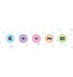 5 diploma icons vector
