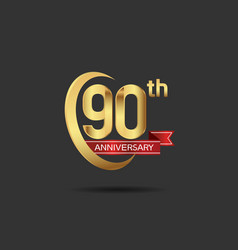 90 years anniversary logo style with swoosh ring vector