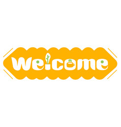 A long orange banner with word welcome vector