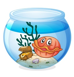 A water bowl and a shell fish vector