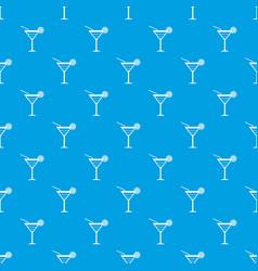 Beach cocktail pattern seamless blue vector