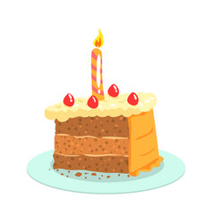 Birthday cake with candle celebration party vector