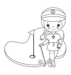 Black and white little girl golfer vector