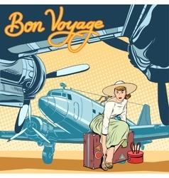 Bon voyage beautiful girl on runway vector