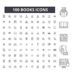books editable line icons 100 set vector image