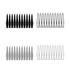 Bullets in row belt machine gun cartridges vector