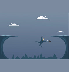 Business man falling in cliff gap businessman fail vector