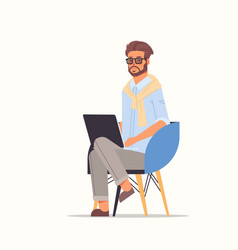 businessman using laptop business man working on vector image