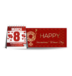 calendar with festive date march 8 international vector image