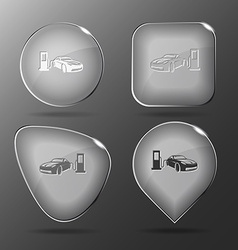 Car fueling Glass buttons vector