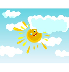 Cartoon smiling sun in clouds vector