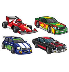 Cartoon sport racing car in set vector