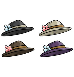 Cartoon woman old retro hat icon set vector