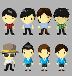 Character People Cartoon Cute Set vector