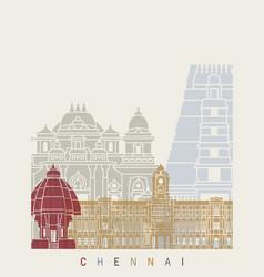 chennai skyline poster vector image