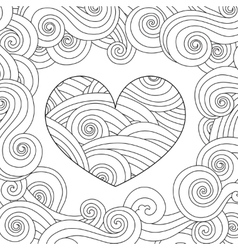 Coloring page with heart and wave curly ornament vector