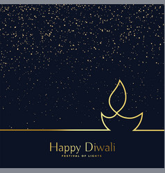 Creative line art diwali diya background vector