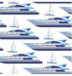 Cruise liner and sailing boat seamless pattern vector