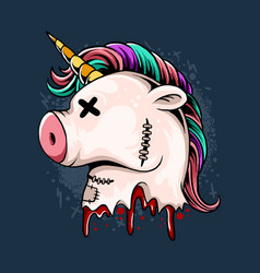 cute unicorn doll head bleeding vector image