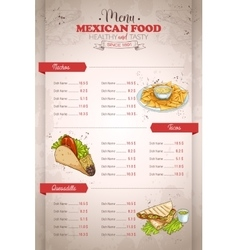 Drawing vertical color mexican food menu vector