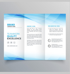 elegant blue business trifold brochure design vector image