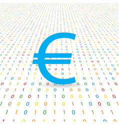 Euro symbol on a digital background vector
