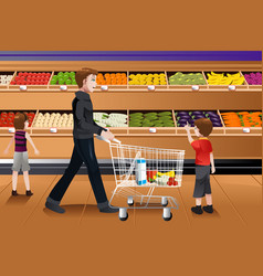 father and his kids doing grocery shopping vector image