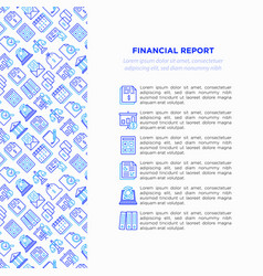 financial report concept with thin line icons vector image
