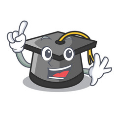 Finger graduation hat mascot cartoon vector