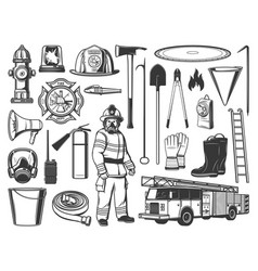 firefighter tools and equipment engraved icons vector image