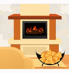 Fireplace and firewood vector