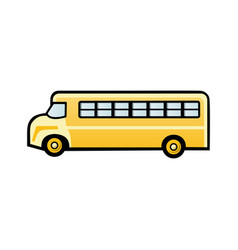 flat icon yellow school bus on vector image
