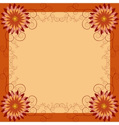 Floral vintage background with flowers and swirls vector image