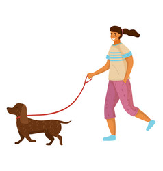 girl with dachshund dog at leash young pretty vector image