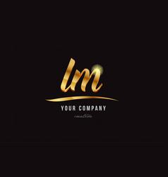 gold alphabet letter lm l m logo combination icon vector image