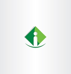 green letter i icon logo business symbol vector image