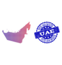 halftone gradient map of united arab emirates and vector image