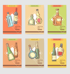 hand drawn bottles alcoholic menu design wine vector image vector image