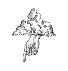 Hand of god sketch engraving vector