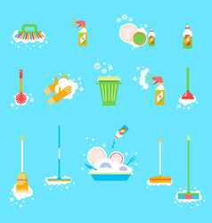 house cleaning wipe the windows wash clothes vector image
