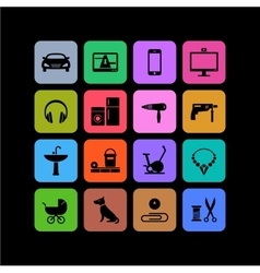 Icons of products categories Black and color vector