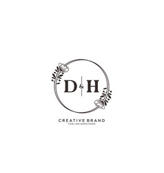 Initial dh letters hand drawn feminine and floral vector