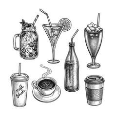 ink sketch drinks vector image