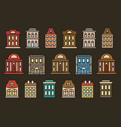 isolated colorful low-rise municipal houses in vector image