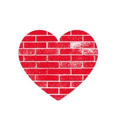 Isoltted distress grunge heart with brickwork vector