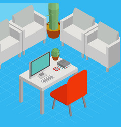isometric business concept startup office vector image