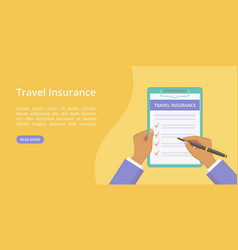 landing travel insurance on clipboard with hands vector image