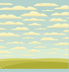 landscape with green fields and cloudy sky vector image