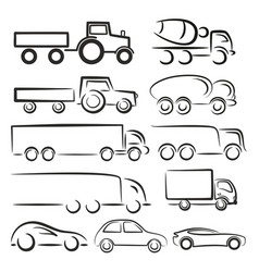 Logos trucks and cars vector